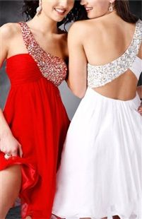 Sequin One Shoulder Chiffon Prom Dress