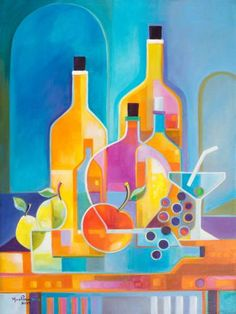 Items similar to Cubism Abstract Original Oil painting Marlina Vera Fine Art Gallery artwork Wine Martini Picasso Style Cubist modernism Pop fruits bottles on Etsy Cubist Paintings, Cubist Art, Fauvism Art, Oil Painting On Canvas, Canvas Art, Painting Abstract, Picasso Style, Fine Art Gallery, Pop Art