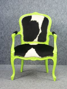 A 1920's Vintage Danish Rococo chair given a new party dress with soft black and white cowhide & 2pac spray paint. Designed my me!!!  www.retropiahomewares.com.au