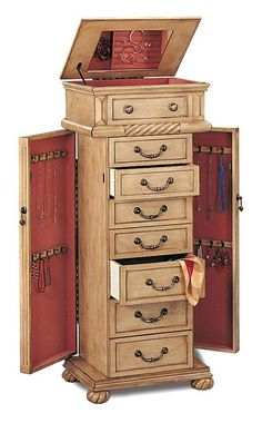 Coaster Home Furnishings 5557 Traditional Jewelry Armoire, Antique Cream Jewelry Cabinet, Jewelry Armoire, Antique Jewelry, Victorian Jewelry, Vintage Jewelry, Standing Jewelry Box, Armoire Antique, Diy Design, Armoire Design