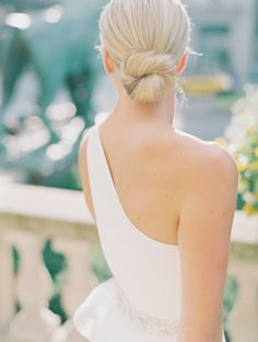 This bride went with a classic twisted bun for her big day.