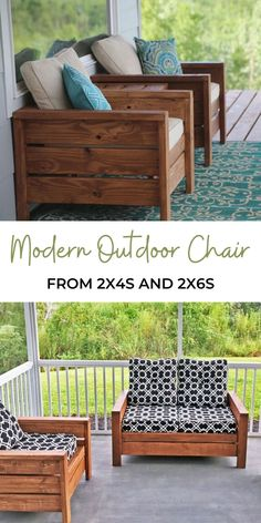 Modern Outdoor Chair from 2x4s and 2x6s | Ana White White Patio Furniture, Outdoor Furniture Plans, Outside Furniture, Homemade Outdoor Furniture, Woodworking Projects Diy, Diy Wood Projects, Furniture Projects, Home Projects, Modern Outdoor Chairs