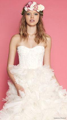 sabrina dahan bridal spring 2017 strapless sweetheart aline wedding dress (cecile) zv corset bodice ruffle skirt
