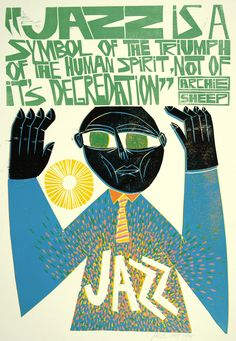 Jazz is a symbol, Paul Peter Piech, Linocut, 1995, Regional Print Centre/Coleg Cambria Collection