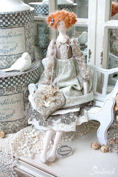 Купить Клементина - тильда кукла, прованский стиль, лавандовое саше, вышивка крестиком, голубой цвет