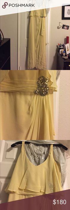 Baffled Mischka Gown Soft yellow Gown, beautiful for a spring time wedding guest! Still in great condition, worn once. Will need steaming for the bottom part but overall it's in great condition! Badgley Mischka Dresses