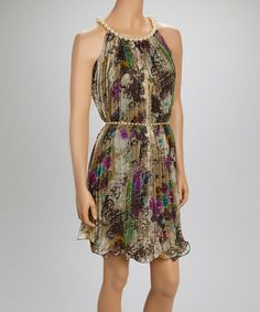 This Brown & Purple Pearl Shift Dress by Quiz is perfect! #zulilyfinds