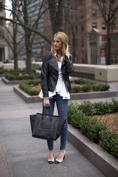 Zara jacket, Ronny Kobo top, J.Crew pants, J.Crew shoes, Celine bag, Michael Kors watch, Stella & Dot bracelet, Poshlocket bracelet