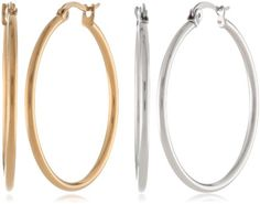Pack of 2 35mm In Stainless Steel, 18K Gold Plated, Top Click Closure Hoop Earrings Amazon Curated Collection $10.19 & FREE Shipping on orders over $35. F