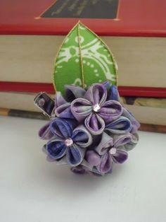 Purple Hydrangea Hydrangea hair clip hydrangea by JagataraArt #purplehydrangea #hairclip #brooch #corsage #tsumamikanzashi #giftideas #giftforher #craftshout