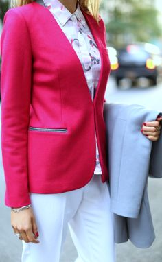 The Classy Cubicle: Wearing White in Winter. {grey wool coat, white pants, fuchsia blazer, blouse with fuchsia and grey accents, grey pumps}
