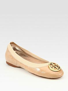 Tory Burch Caroline Patent Leather Logo Ballet Flats