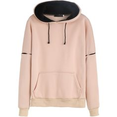 Cut Out Hooded Sweatshirt With Pocket (91 BRL) ❤ liked on Polyvore featuring tops, hoodies, long sleeve tops, sweatshirt hoodies, long sleeve hoodies, pink hooded sweatshirt and hooded pullover sweatshirt