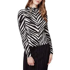 Topshop Zebra Stripe Crinkle Top ($50) ❤ liked on Polyvore featuring tops, grey, topshop, fitted tops, topshop tops, grey long sleeve top and zebra print tops