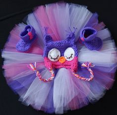 An adorable unique set for 1st birthdays, photography shoots, and play! Pair with some leggings and a hoody for beautiful winter nights.     Pink and Purple Owl Hat Boots and Tutu Set by ReiLynnDesigns, $55.00