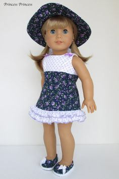 """Amelican girl doll clothes """" Emily """" - Purple polka dots / Small rose ( 3 pieces - dress,  hat, and shoes )"""