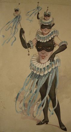 Theatrical costume design for a female Jester by C. Wilhelm, 19th century.
