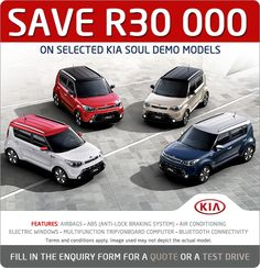 Save R30 000 on selected Kia Soul Demo models. Features include: airbags, ABS, air conditioning, electric windows, multifunction trip / onboard computer and bluetooth connectivity.