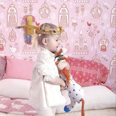 Wallpaper Paste, Kids Wallpaper, Wallpaper Companies, Palace Garden, Squirrel, Pink, Squirrels, Hot Pink, Pink Hair