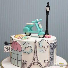 Bolo tema Paris que vi no Birthday Cakes For Men, 18th Birthday Cake, Paris Birthday, Paris Themed Cakes, Paris Cakes, Pretty Cakes, Cute Cakes, Fondant Cakes, Cupcake Cakes