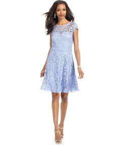 Marina Dress, Cap-Sleeve Lace A-Line - Dresses - Women - Macys