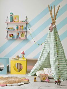 Tepee + diagonal stripes + bright pastel colours for a kid's room