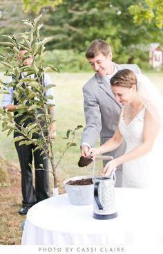 A meaningful tree-planting addition to the ceremony.  ❤  Inn at Westwood Farm: A lovely B&B in Orange, Virginia — your home in the country & the perfect venue for your wedding ceremony, reception, rehearsal dinner or event!  ❤  See our Pinterest boards: http://www.pinterest.com/elizabethgoeke/ for wedding inspiration & our inn, barn, and grounds in all seasons, or visit www.innatwestwoodfarm.com  ❤  #innatwestwoodfarm #barnweddings #rusticweddings #countryweddings
