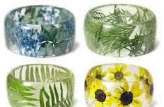 New Handmade Resin Bracelets Embedded with Flowers and Plants