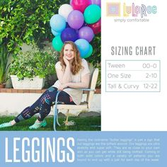 LuLaRoe Leggings Sizing Chart, Size Chart for Tween, One Size and Tall and Curvy Lularoe Size Chart, Lularoe Sizing, Leggings Sale, Lularoe Leggings Size, Blue Leggings, Buttery Soft Leggings, Lula Roe Outfits, Tween, At Least