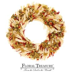 Hot & spicy harvest wreath perfect for the fall season. Hang in kitchen, entryway or dining area. #homedecor #wholesale #floraltreasure #interiordesign