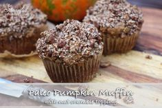 Paleo Pumpkin Muffins are fluffy sweet and filling! No added sugar all wholefoods and low carb! Desert Breakfast or kids snack! Primal Recipes, Dairy Free Recipes, Date Muffins, Paleo Pumpkin Muffins, Low Carb Deserts, Crumble Topping, Paleo Treats, Low Carb Bread, Paleo Breakfast