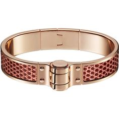 Hermès Charniere Cuir Fin Bracelet (38.525 RUB) ❤ liked on Polyvore featuring jewelry, bracelets, hinged bangle, leather bangles, rose jewelry, rose jewellery and lizard jewelry