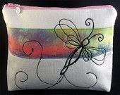 Medium sized cosmetic/toiletry bag. Free machine embroidered design