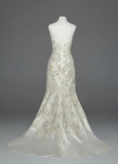 Oleg Cassini Wedding Dress: Mikado Fit and Flare with Allover Beaded Lace Style CWG480 - Sale: $1,150.00