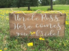 Here comes your bride sign by PrimPickinsCanada on Etsy