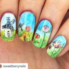 "#Repost @sweetberrynails with @repostapp  Hello lovelies! Here's some countryside landscape for you today! Found this image at google and I thought ooh this looks really pretty fresh and easy to paint! But who am I kidding this still took me few hours to finish....although I did stop a few times eating chatting doing some salon work... and of course waiting for the sun to be able to post this!  All freehand with acrylic paint Base polish is always my Cutex ""Pure Cotton"". Have a great…"