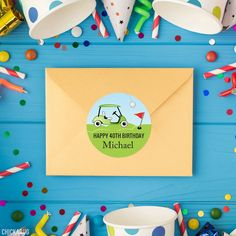 Golf Birthday Party Stickers – Chickabug Happy 12th Birthday, 40th Birthday, Golf Party, Personalized Stickers, Favor Bags, Perfect Party, Party Favors, Prints, Label