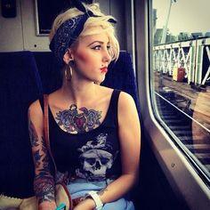 punk rock. love this rockabilly style: blonde, short hair cut; bandana, tattoos <3