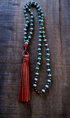 Long Tassel Necklace Boho Necklace Turquoise Boho by TwigsAndLace