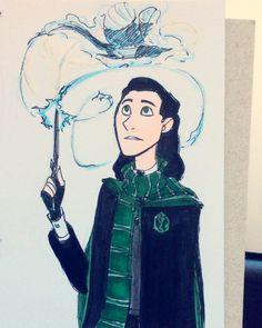 Inktober - Slytherin Loki and his magpie patronus by DKettchen on @DeviantArt