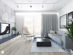 Projekt 25 - Średni salon z tarasem / balkonem, styl nowoczesny - zdjęcie od PASS architekci