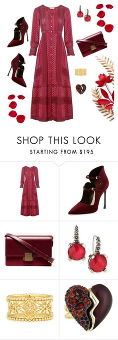 """""""red dress"""" by marlenewelke ❤ liked on Polyvore featuring LoveShackFancy, Christian Dior, Yves Saint Laurent, Stephen Dweck, Konstantino and Alexis Bittar"""