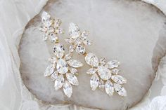 Swarovski crystal Bridal Statement earrings - JESSICA – Treasures by Agnes