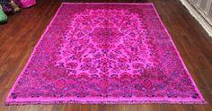 7×10 Hot Pink Overdyed Rug Vintage Persian Kerman 2698 - See more at:  http://westofhudson.com/product/7x10-hot-pink-overdyed-rug-vintage-persian-kerman-2698/