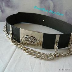 Vintage CHAINED Leather Cinch Belt  Big Buckle medium by GoodEye, $45.00