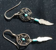 Sterling Silver Earrings Turquoise Dreamcatcher Dream Catcher Feather Jewelry #unbranded