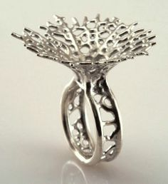 silver Hyphae Ring by Nervous System; Sterling, 3D printed