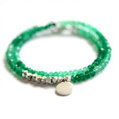 Green Onyx double wrap bracelet