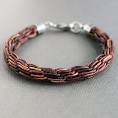 Mens Brown Woven Leather Bracelet Chain Braid by LynnToddDesigns