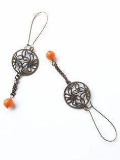 Celtic Floral Gypsy Style Earrings - Orange Beads- Long Statement Earrings-Chain Drop Earrings- Owl and Crow Seattle - Handmade Art by owlandcrowseattle on Etsy